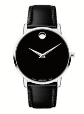 Movado Museum Classic Black Dial Leather Strap Men's Watch 0607269