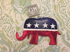 "NWT Republican Metal Elephant Christmas Ornament Red White /& Blue 4""x5"""