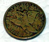 1858 Flying Eagle Penny, Fine condition, rim dinged a bit