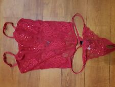 New Basque Fitted Lace Corset and Pants by M&S in Red with Squins 34D