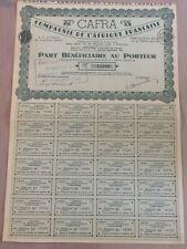 CAFRA, Compagnie de l'Afrique Française, Pointe-Noire, action 250 francs, 1924