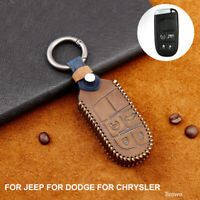 Remote Smart Car Key Case Cover Holder Fob for Jeep for Chrysler for Dodge Brown