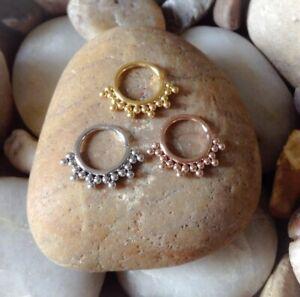 Tribal 18 Ball Beaded Seamless Bendy Nose Septum Hoop Daith Ring Cartilage