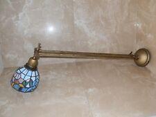 Lampada da parete esterno doppia in ottone con cupolina in vetro tiffany BLU