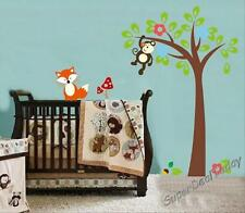 1.6M Fox Monkey Tree Baby Kid Nursery Room Wall Decals Decor Removable Stickers