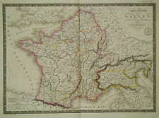 1821 Genuine Antique large map of France & Northern Italy. by A.H. Brue