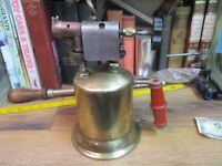 ANTIQUE BRASS BLOW TORCH EARLY 1900'S ORIGINAL WHITE GAS THE TURNER STEAM PUNK