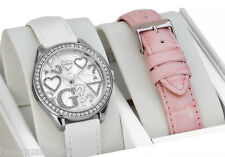 NEW-GUESS WHITE+PINK CROC LEATHER INTERCHANGEABLE BAND+SILVER WATCH SET W95139L1