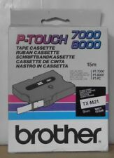 BROTHER tx-m21 P-touch TAPE NERO TRASPARENTE OPACO 9mm x 15m pt7000 pt8000