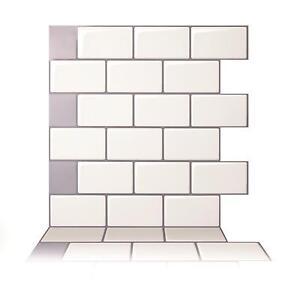 Tic Tac Tiles 3D Peel and Stick Wall Tile Mono White (30cm x 30cm x 5 sheets)