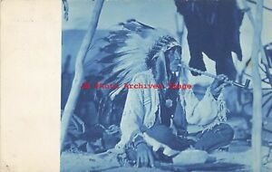 Native American Indian, RPPC, Chief Smoking Pipe, Pine Ridge SD, Cyanotype
