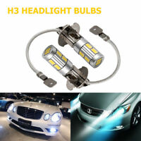 2X H3 5630 SMD 10 LED Headlight Fog Driving Light Bulb DRL Car Lamp Globe 6000K