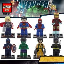 8 Pc MINI-FIGURES FITS WITH LEGO  MARVEL DC WOLVERINE SPIDER-MAN THOR IRON-MAN