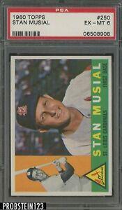 1960 Topps #250 Stan Musial St. Louis Cardinals HOF PSA 6 EX-MT