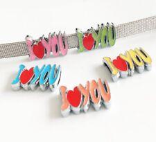 10PCs 8mm Enamel LOVE Letters Slide Charm Fit DIY 8mm Pet Collar Belt Bracelet