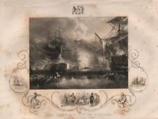 BOMBARDMENT OF ALGIERS. inset Keppel threatened by the Bey of Algiers 1853