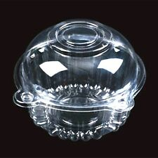 """60 Clear Plastic 4.5"""" Food Take Out Clamshell Container Cupcake Cookie Favor D9"""