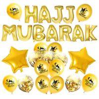 Hajj Mubarak Decoration Gold Foil Balloon Banner Bunting Eid Mubarak Hajj Decor