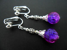 A PAIR OF TIBETAN SILVER PURPLE/PINK CRACKLE GLASS BEAD  CLIP ON EARRINGS. NEW.