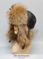 RACCOON Fur Hat Black Aviator Bomber Ushanka Winter Pelzmütze Fliegermütze Ski