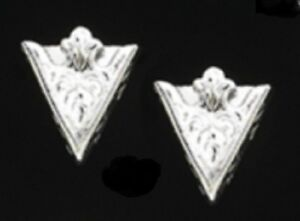 "New Western Austin Accent Collar Tips Engraved Silver 1 1/4"" X 1 1/2"" Screw On"