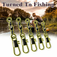 100pc Fishing Rolling Barrel Swivel with Interlock Snap Tackle Connector CHF