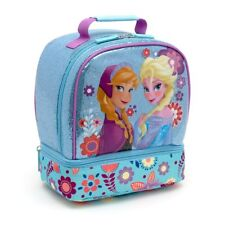 Disney Store FROZEN Elsa & Anna Lunchbox tote  First Edition 2015 Glitter Blue