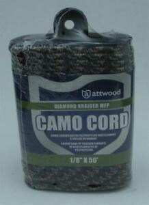 "Attwood 11717-2 Diamond Braid MFP Camo Rope Cord 1/8"" 50 ft 20596"