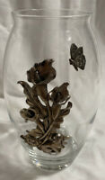 """ARTHUR COURT VASE - Glass and Aluminum GRAPES AND LEAVES 9.25"""" Tall Vintage"""