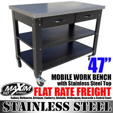 MAXIM HD 47 inch Mobile Workbench with Stainless Steel Top PI211E