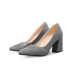 Sexy Women Block Heel Pointy Toe Slip On Low Top Smart Shoes Pumps 34-52 53 54 D