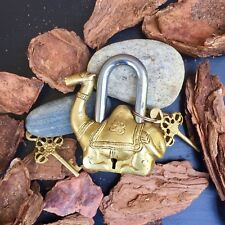 Camel Antique lock Vintage Brass Padlock working love lockskeleton key Rustic