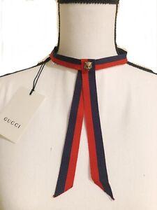NWT 100% Authentic GUCCI Adjustable Sylvie Web Neck Bow Tie with Feline Head