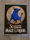 "Schlitz Malt Liquor Blue Bull Mirrored Sign - Wood Frame 16x21"" - Vintage Promo"