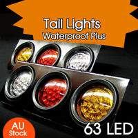 2 X 12V TAIL LIGHTS 63 LED TRUCK UTE TRAILER STOP INDICATOR PAIR 12 Volt NEW AU