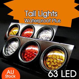 2 X 12V TAIL LIGHTS 63 LED TRUCK UTE TRAILER STOP INDICATOR PAIR 12 Volt NEW AU