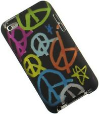 NEW BLACK RUBBERIZED PEACE SIGN CASE COVER FOR APPLE iPOD TOUCH 4 4G 4TH GEN
