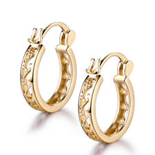 Retro 18k Gold Filled Hollow Ring Women Lady Wedding Party Hoop Earrings Studs