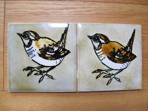 Brand New 2 Wren Hand Painted Hereford Tiles