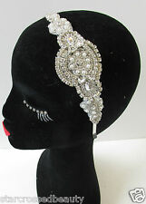 Vintage 1920s Silver Diamante Headband Headpiece Great Gatsby Flapper Bridal Q13