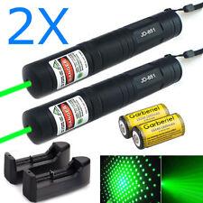 2Pcs Tactical Gd851 10 Miles 532nm Green Laser Pointer Pen Visible Beam+Star Cap
