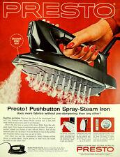 Vintage 1962 Presto spray steam laundry iron retro advertisement ad