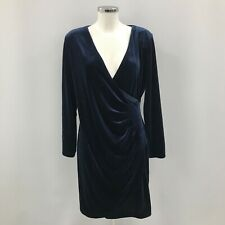 New DKNY Velvet Mock Wrap Dress UK 16-18 Blue Stretch Deep V Neck Draped 282327