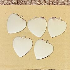 5x Dog Cat Tags Heart Shape Nickel Plated Silver Colour Blank 30mm Wide x 34mm