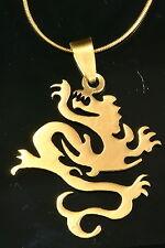 De 24 K oro plateado mística Dragon símbolo Collar Y Colgante