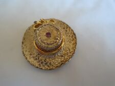 Hat Scarf Ring In Gold Coloured Metal With Pink Stone