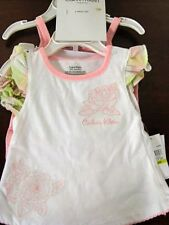 New Calvin Klein 3pc layette set girls 0-3 m pink white short set