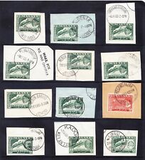 MALAY STATES Selection of 12 postmarks on piece - stamps catalogue £70