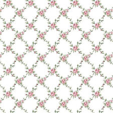 Dollhouse Miniature Shabby Chic Wallpaper Pink Roses White Floral Flowers 1:12