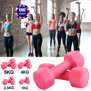Neoprene Dumbbells Weights Home Gym Fitness Aerobic Exercise Iron Pair Hand Pink